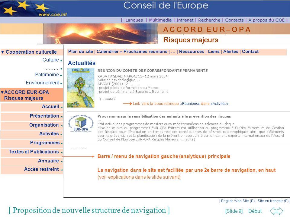 Début [Slide 9] | English Web Site (E) | Site en français (F) | ▼ Coopération culturelle ▼ ACCORD EUR-OPA Risques majeurs Accueil ◄ Présentation ◄ Cul