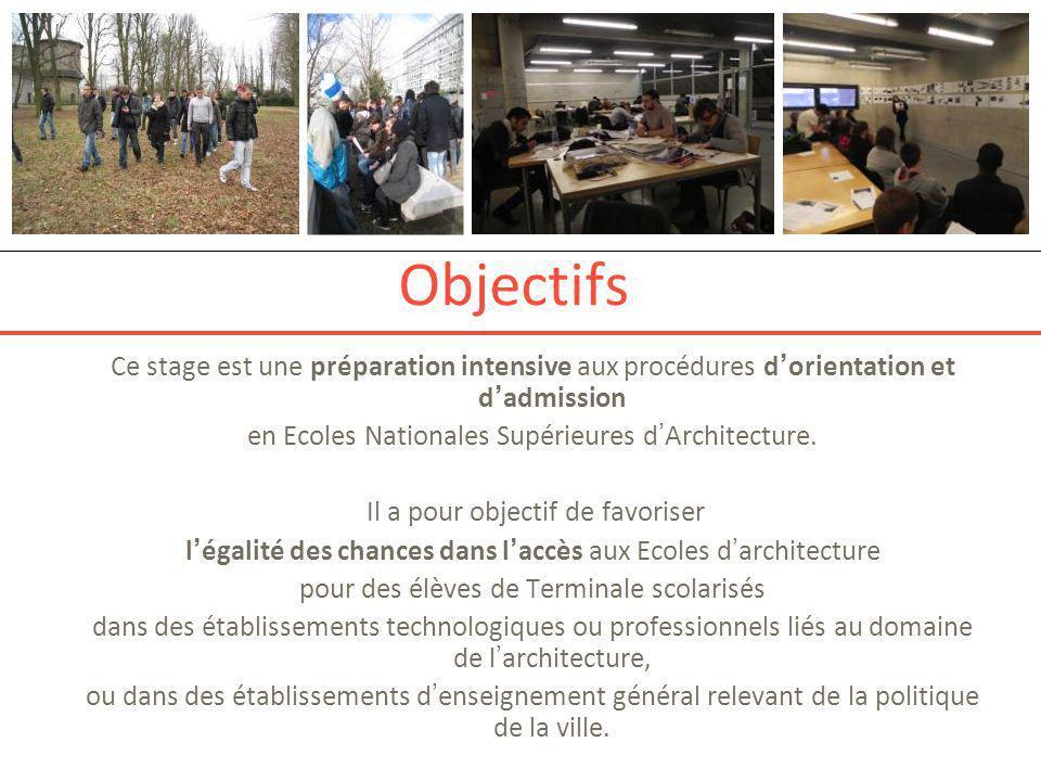 Objectifs Ce stage est une préparation intensive aux procédures d'orientation et d'admission en Ecoles Nationales Supérieures d'Architecture. Il a pou