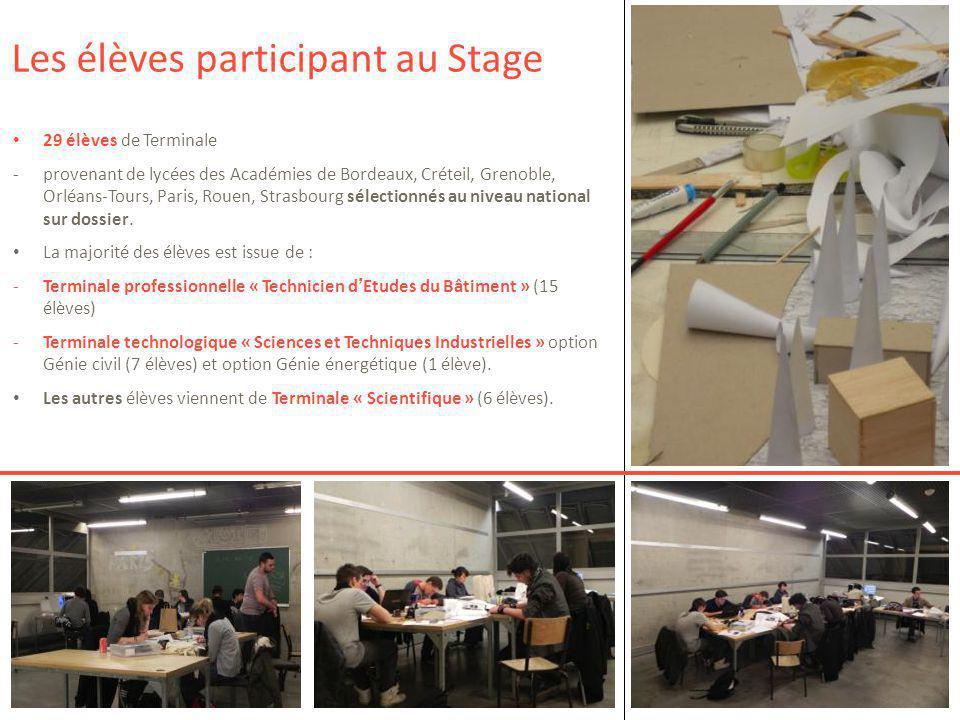 29 élèves de Terminale -provenant de lycées des Académies de Bordeaux, Créteil, Grenoble, Orléans-Tours, Paris, Rouen, Strasbourg sélectionnés au nive