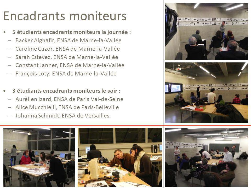 Encadrants moniteurs 5 étudiants encadrants moniteurs la journée : − Backer Alghafir, ENSA de Marne-la-Vallée − Caroline Cazor, ENSA de Marne-la-Vallé