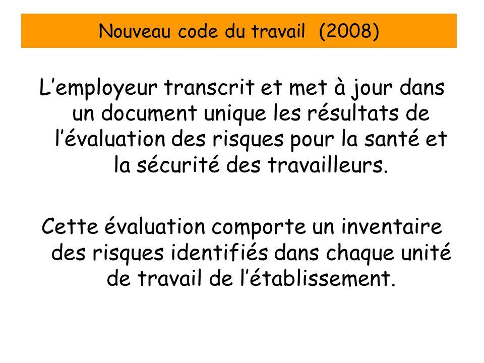 Nouveau code du travail (2008) L'employeur transcrit et met à jour dans un document unique les résultats de l'évaluation des risques pour la santé et la sécurité des travailleurs.