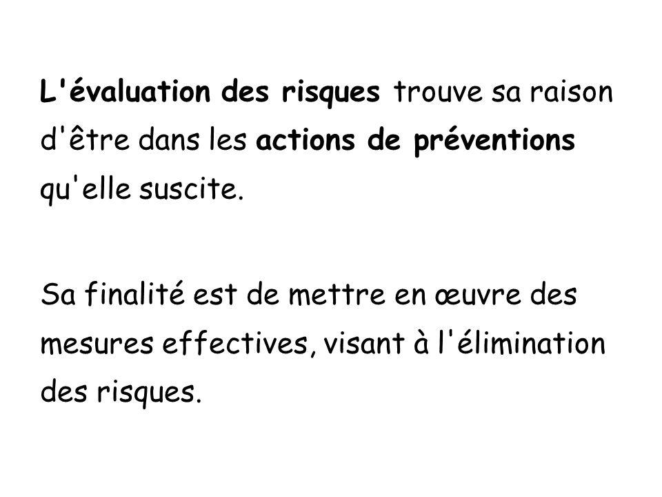 L évaluation des risques trouve sa raison d être dans les actions de préventions qu elle suscite.
