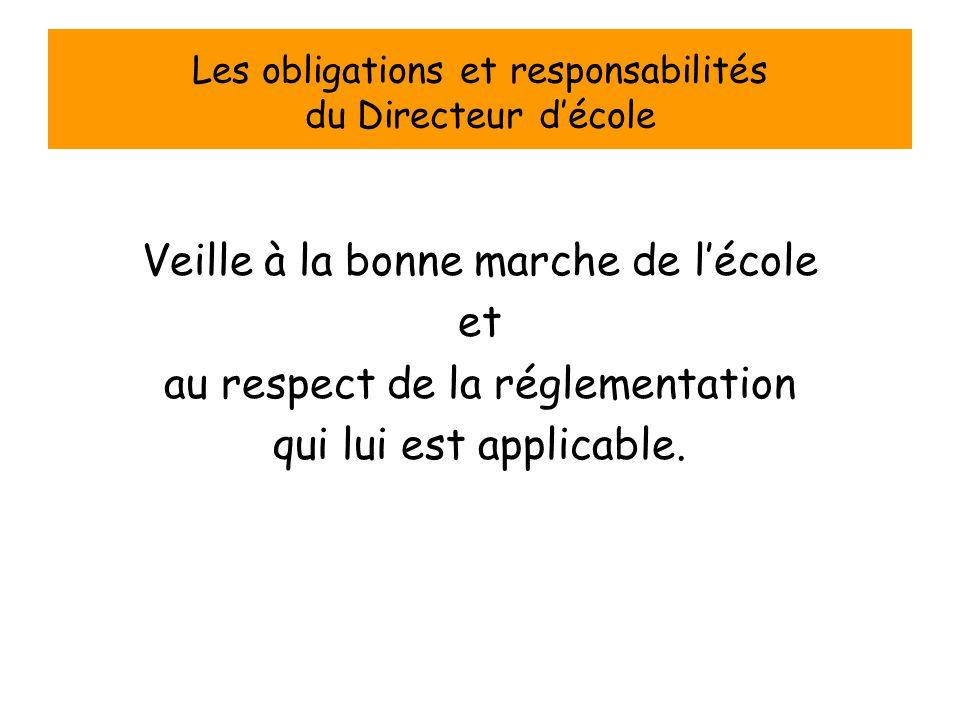 Les obligations et responsabilités du Directeur d'école Veille à la bonne marche de l'école et au respect de la réglementation qui lui est applicable.