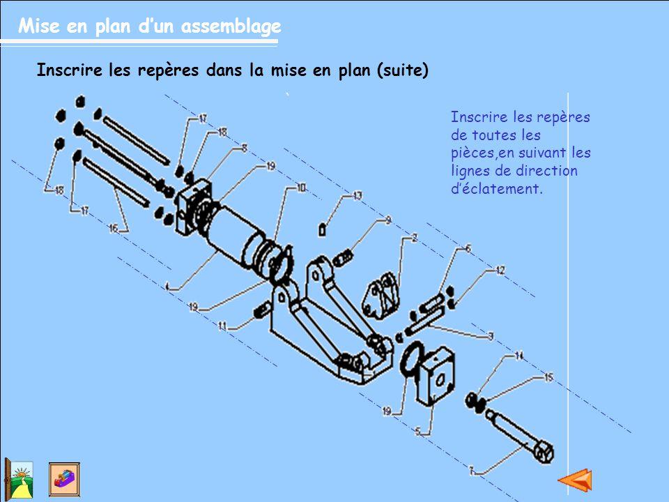 Mise en plan d'un assemblage Inscrire les repères dans la mise en plan (suite) Inscrire les repères de toutes les pièces,en suivant les lignes de dire