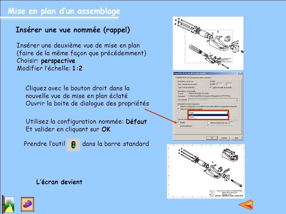 Mise en plan d'un assemblage Inscrire les repères dans la mise en plan (suite) Amener le pointeur près d'une pièce,il devient.
