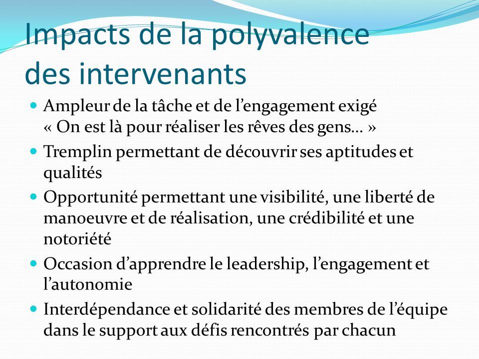 Impacts de la polyvalence des intervenants Ampleur de la tâche et de l'engagement exigé « On est là pour réaliser les rêves des gens… » Tremplin perme