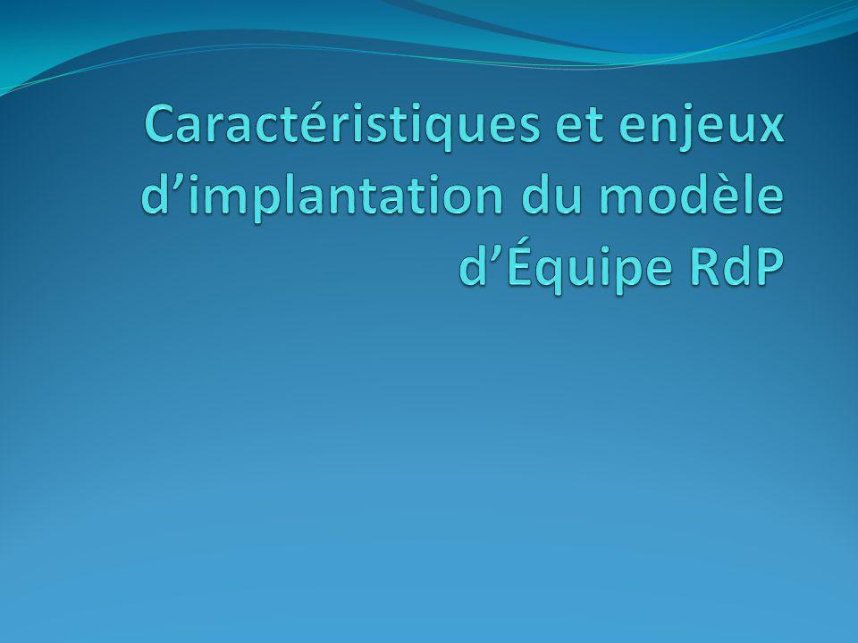 Caractéristiques du modèle d'Équipe RdP.Plate-forme de mobilisation.