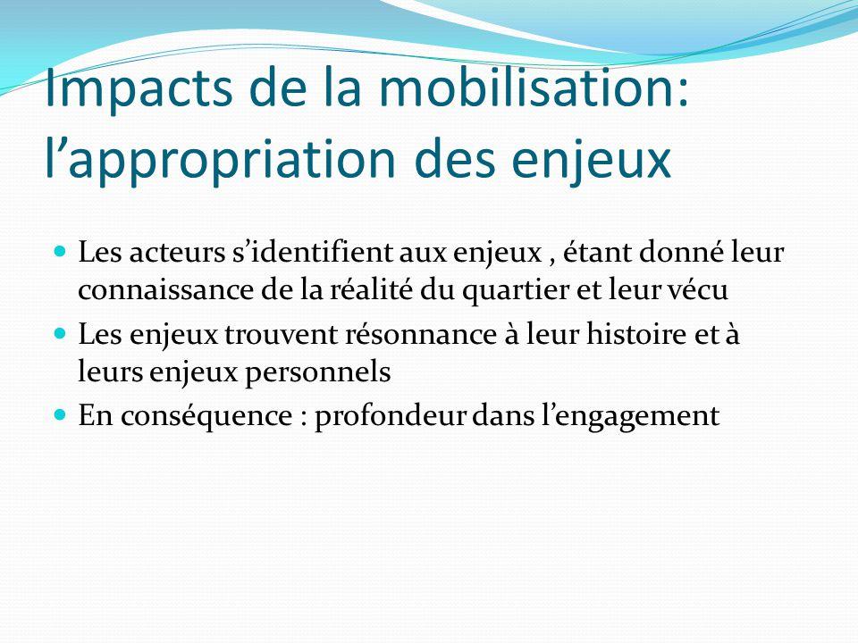 Impacts de la mobilisation: l'appropriation des enjeux Les acteurs s'identifient aux enjeux, étant donné leur connaissance de la réalité du quartier e