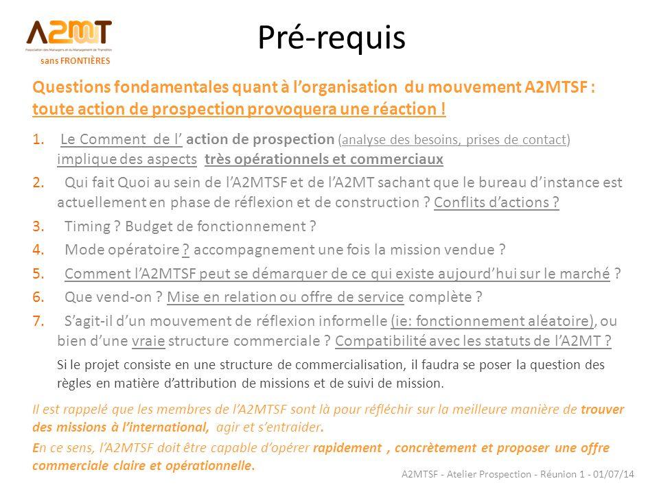 Pré-requis Questions fondamentales quant à l'organisation du mouvement A2MTSF : toute action de prospection provoquera une réaction ! 1. Le Comment de