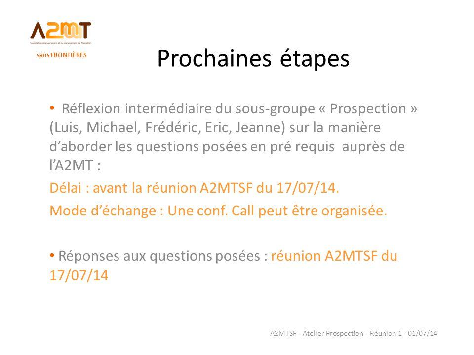 Prochaines étapes Réflexion intermédiaire du sous-groupe « Prospection » (Luis, Michael, Frédéric, Eric, Jeanne) sur la manière d'aborder les question