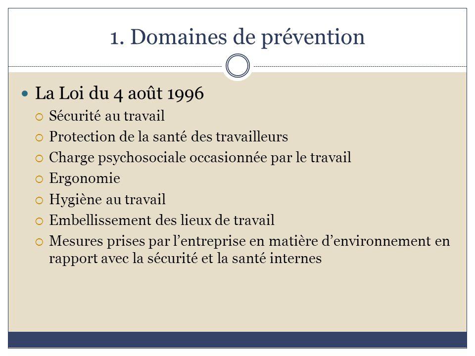 1. Domaines de prévention La Loi du 4 août 1996  Sécurité au travail  Protection de la santé des travailleurs  Charge psychosociale occasionnée par