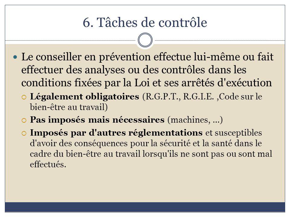 6. Tâches de contrôle Le conseiller en prévention effectue lui-même ou fait effectuer des analyses ou des contrôles dans les conditions fixées par la