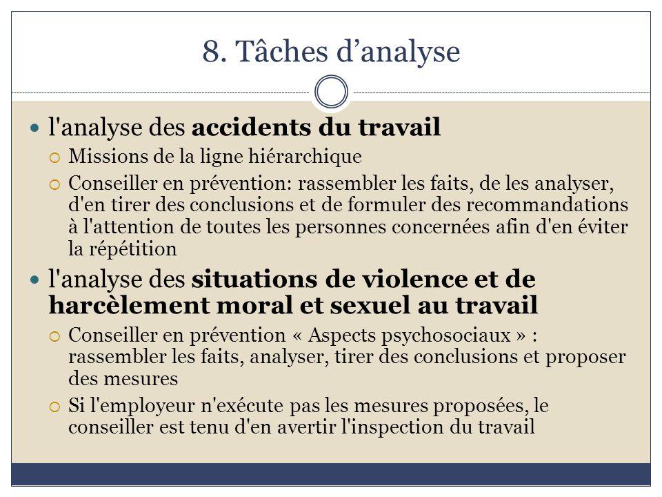 8. Tâches d'analyse l'analyse des accidents du travail  Missions de la ligne hiérarchique  Conseiller en prévention: rassembler les faits, de les an