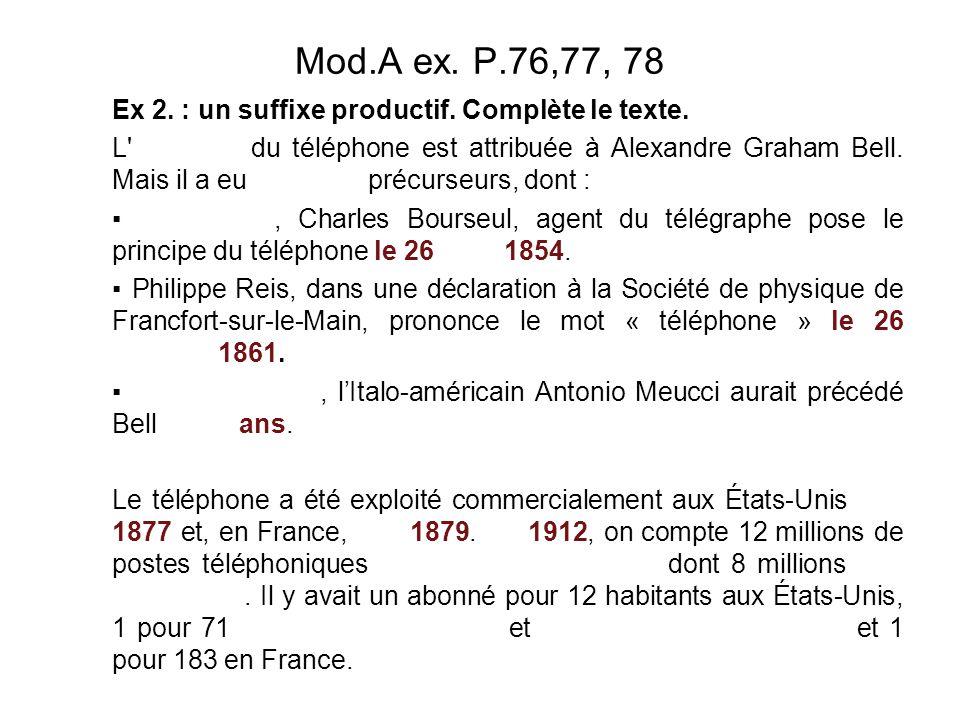 Mod.A ex.P.76,77, 78 Ex 2. : un suffixe productif.