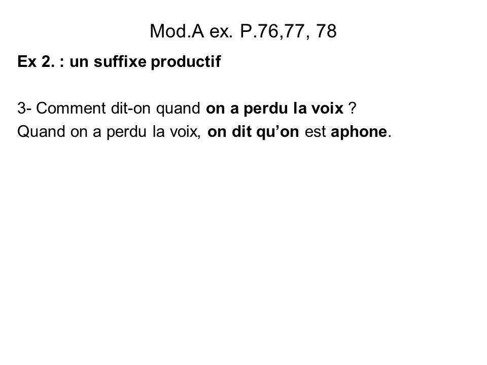 Mod.A ex.P.76,77, 78 Ex 2. : un suffixe productif 3- Comment dit-on quand on a perdu la voix .