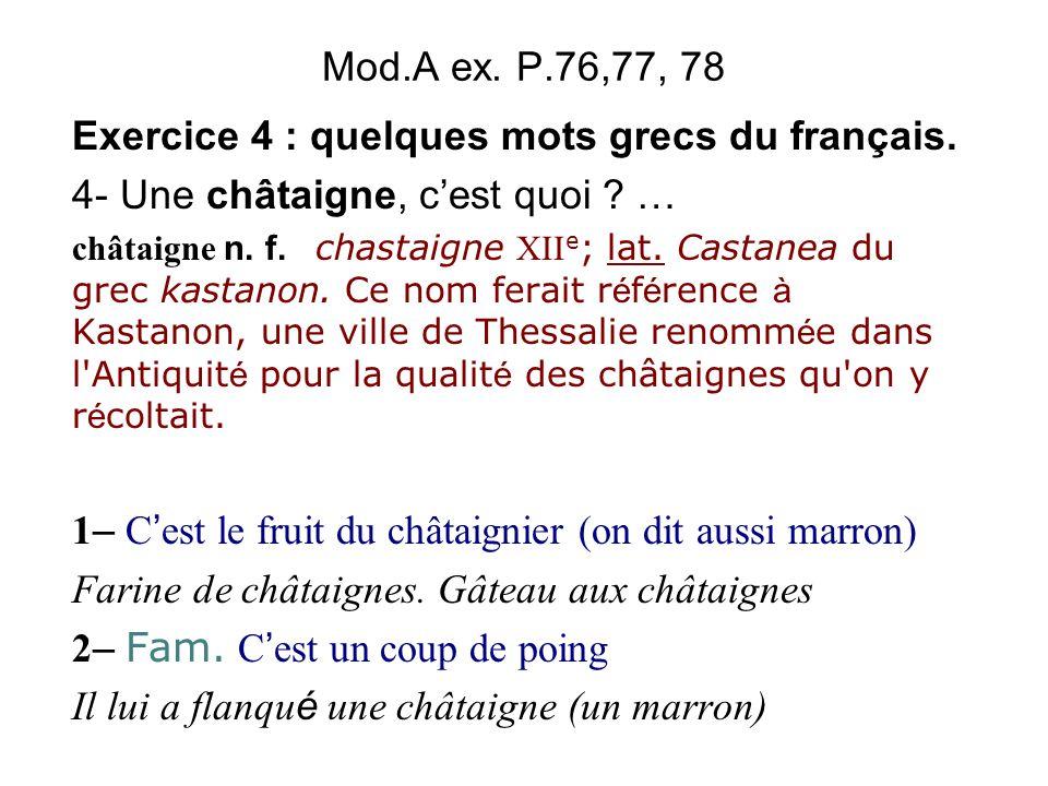 Mod.A ex.P.76,77, 78 Exercice 4 : quelques mots grecs du français.