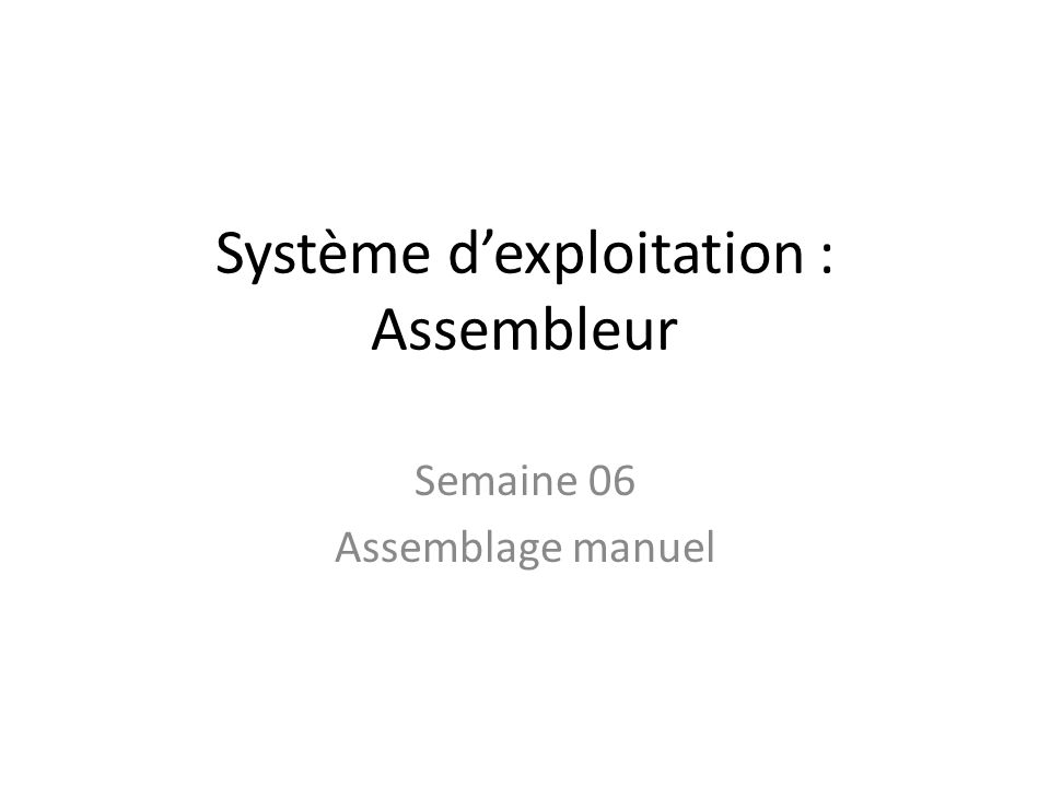 Système d'exploitation : Assembleur Semaine 06 Assemblage manuel