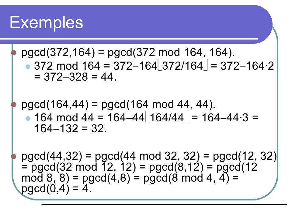 Algorithme d'Euclide (exemple) pgcd(33,77): Étaper = x mod yxy 0-3377 1 33 mod 77 = 33 7733 2 77 mod 33 = 11 3311 3 33 mod 11 = 0 110