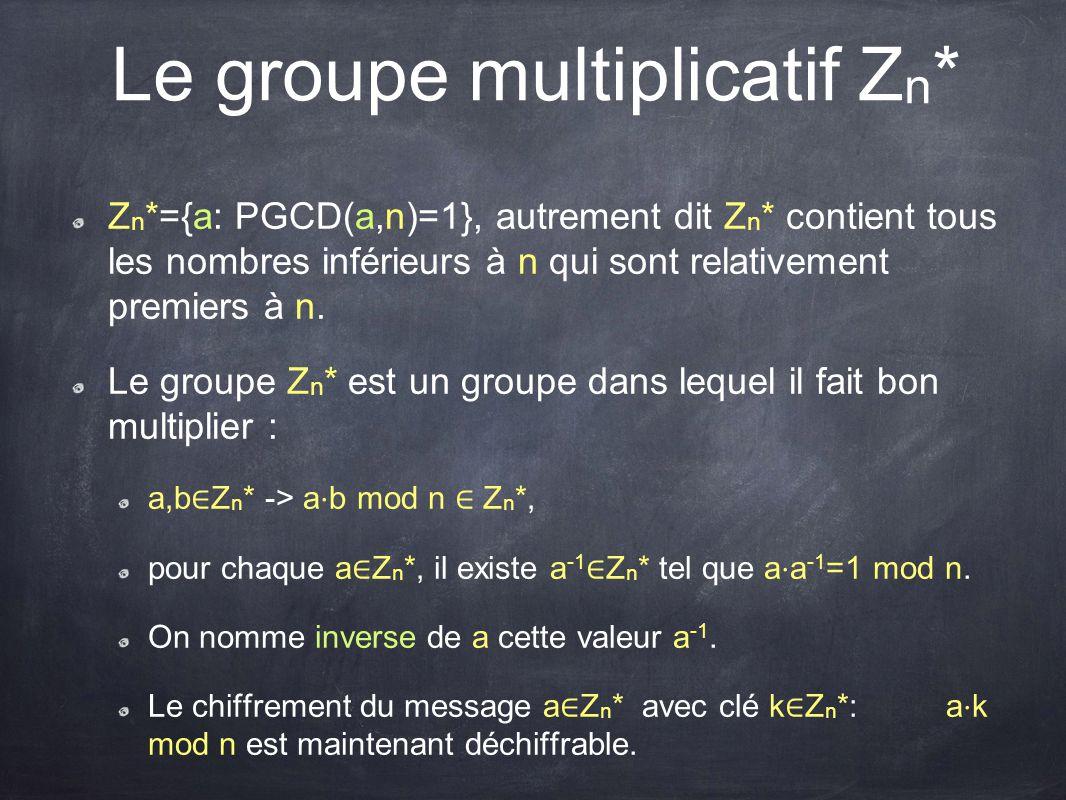 Le groupe multiplicatif Z n * Z n *={a: PGCD(a,n)=1}, autrement dit Z n * contient tous les nombres inférieurs à n qui sont relativement premiers à n.