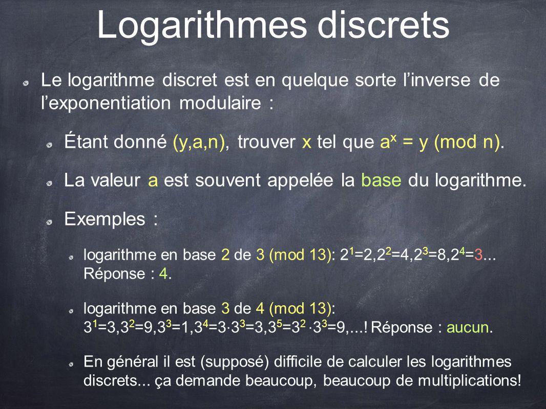 Logarithmes discrets Le logarithme discret est en quelque sorte l'inverse de l'exponentiation modulaire : Étant donné (y,a,n), trouver x tel que a x =
