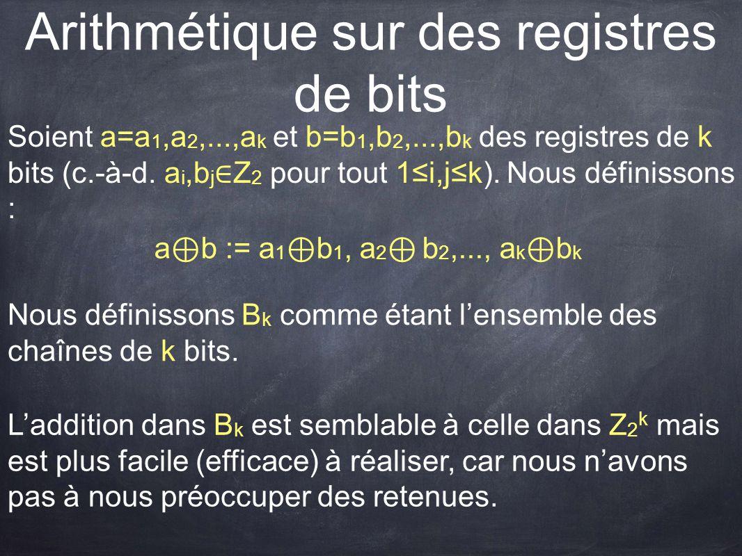 Arithmétique sur des registres de bits Soient a=a 1,a 2,...,a k et b=b 1,b 2,...,b k des registres de k bits (c.-à-d. a i,b j ∈ Z 2 pour tout 1≤i,j≤k)