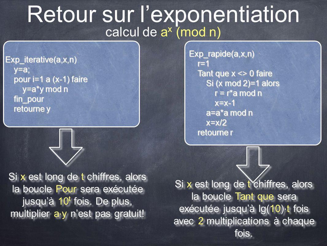 Retour sur l'exponentiation Exp_iterative(a,x,n)y=a; pour i=1 a (x-1) faire y=a*y mod n fin_pour retourne y Exp_rapide(a,x,n)r=1 Tant que x <> 0 faire