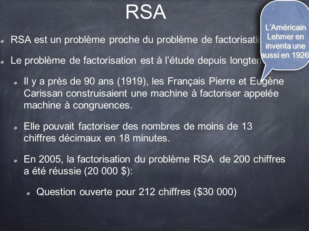 RSA RSA est un problème proche du problème de factorisation. Le problème de factorisation est à l'étude depuis longtemps. Il y a près de 90 ans (1919)