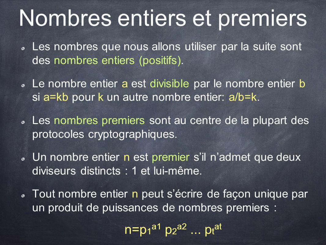 Nombres entiers et premiers Les nombres que nous allons utiliser par la suite sont des nombres entiers (positifs). Le nombre entier a est divisible pa