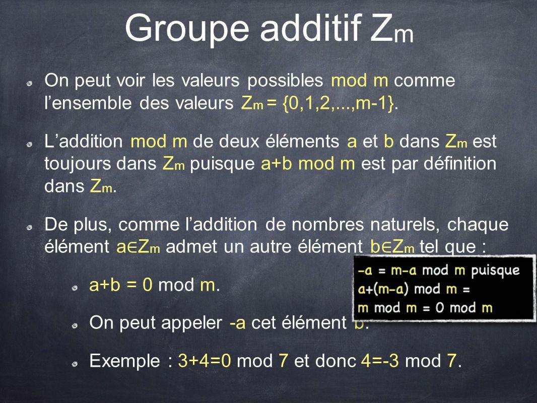 On peut voir les valeurs possibles mod m comme l'ensemble des valeurs Z m = {0,1,2,...,m-1}. L'addition mod m de deux éléments a et b dans Z m est tou