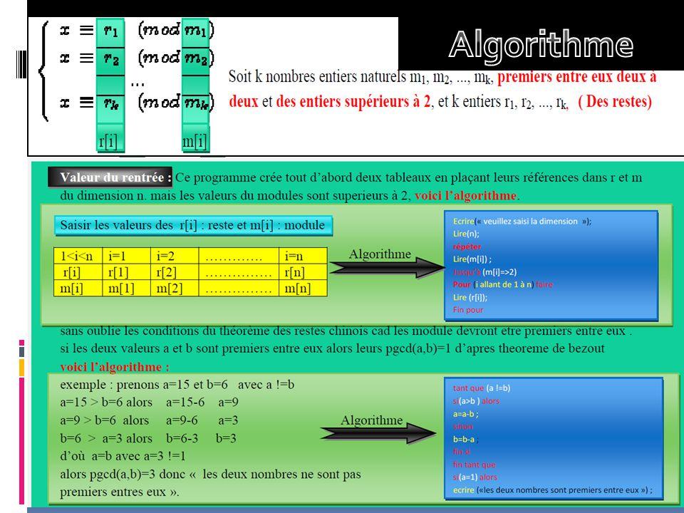 Soit l'exemple suivant : X=8 mod 12 X= 0 mod 4 X=11 mod 15 X= 2 mod 3 X=1 mod 5