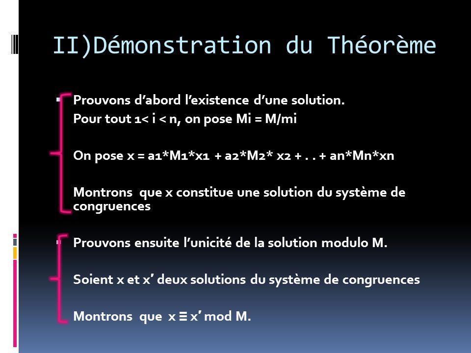 II)Démonstration du Théorème  Prouvons d'abord l'existence d'une solution.