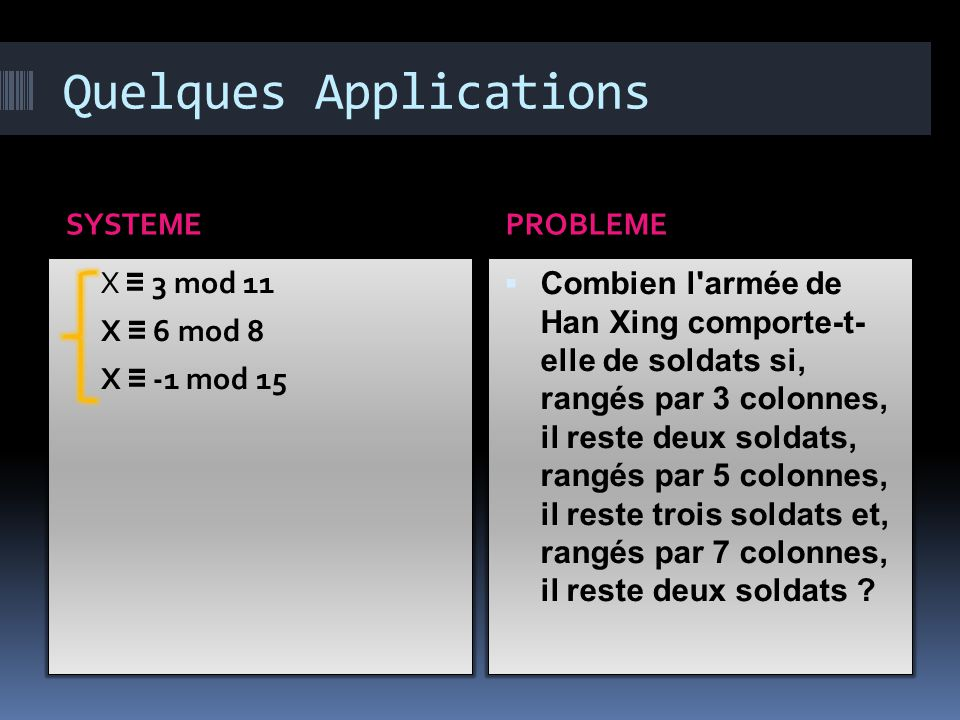 Quelques Applications SYSTEMEPROBLEME X ≡ 3 mod 11 X ≡ 6 mod 8 X ≡ -1 mod 15  Combien l armée de Han Xing comporte-t- elle de soldats si, rangés par 3 colonnes, il reste deux soldats, rangés par 5 colonnes, il reste trois soldats et, rangés par 7 colonnes, il reste deux soldats ?
