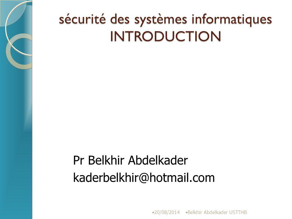 exemple Texte en clair: sauna On obtiendra: vdxqd 20/08/2014 Belkhir Abdelkader USTTHB