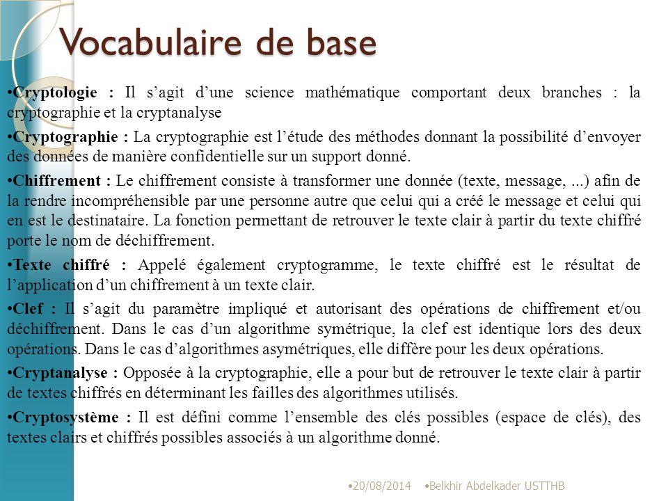 Chaque digramme clair (P1 et P2) sera chiffré (C1 et C2) selon : C1 ≡ aP1 + bP2(mod26) C2 ≡ cP1 + dP2(mod26) 20/08/2014 Belkhir Abdelkader USTTHB