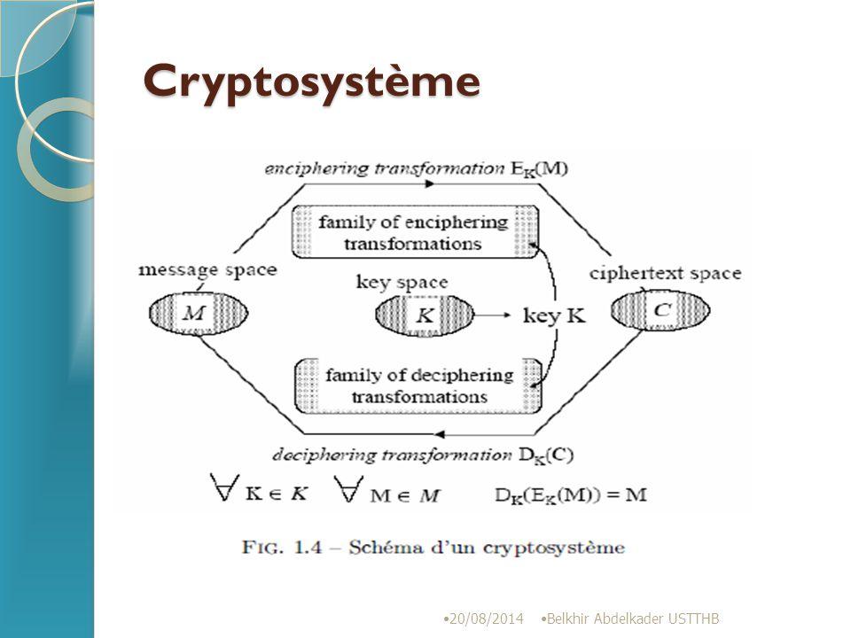 Notations 20/08/2014 Belkhir Abdelkader USTTHB la propriété de base est que M = D(E(M)) où – M représente le texte clair, – C est le texte chiffré, – K est la clé (dans le cas d'un algorithme à clé symétrique), Ek et Dk dans le cas d'algorithmes asymétriques, – E(x) est la fonction de chiffrement, et – D(x) est la fonction de déchiffrement.