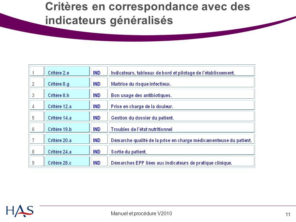 Manuel et procédure V2010 11 Critères en correspondance avec des indicateurs généralisés