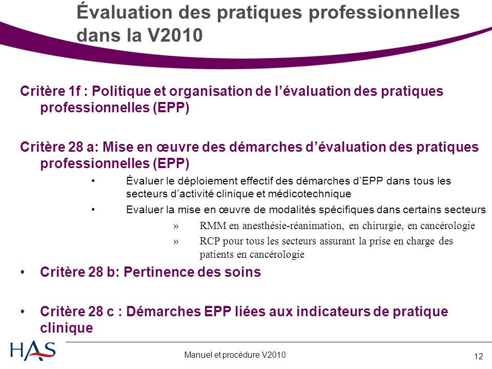 Manuel et procédure V2010 12 Évaluation des pratiques professionnelles dans la V2010 Critère 1f : Politique et organisation de l'évaluation des pratiques professionnelles (EPP) Critère 28 a: Mise en œuvre des démarches d'évaluation des pratiques professionnelles (EPP) Évaluer le déploiement effectif des démarches d'EPP dans tous les secteurs d'activité clinique et médicotechnique Evaluer la mise en œuvre de modalités spécifiques dans certains secteurs »RMM en anesthésie-réanimation, en chirurgie, en cancérologie »RCP pour tous les secteurs assurant la prise en charge des patients en cancérologie Critère 28 b: Pertinence des soins Critère 28 c : Démarches EPP liées aux indicateurs de pratique clinique