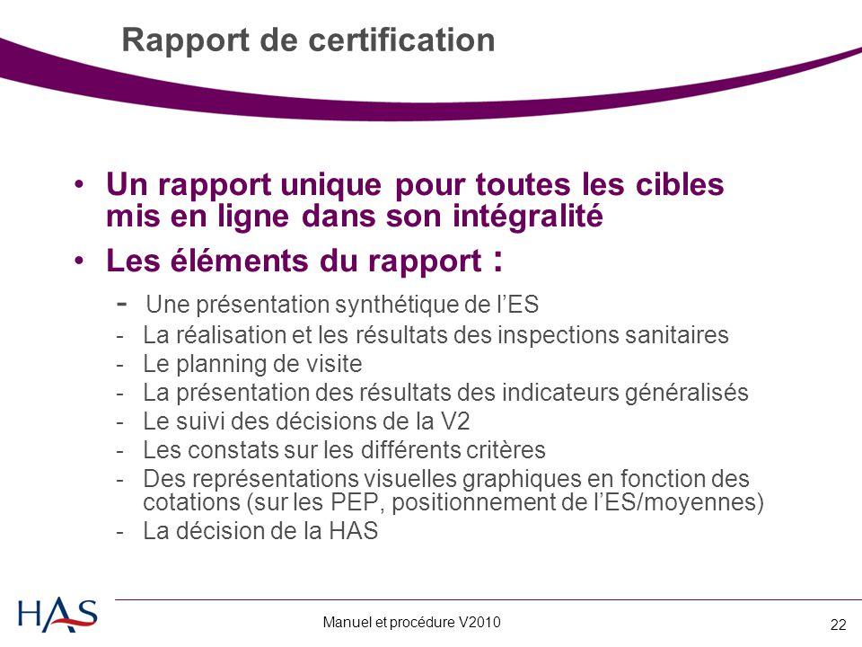 Manuel et procédure V2010 22 Rapport de certification Un rapport unique pour toutes les cibles mis en ligne dans son intégralité Les éléments du rapport : - Une présentation synthétique de l'ES -La réalisation et les résultats des inspections sanitaires -Le planning de visite -La présentation des résultats des indicateurs généralisés -Le suivi des décisions de la V2 -Les constats sur les différents critères -Des représentations visuelles graphiques en fonction des cotations (sur les PEP, positionnement de l'ES/moyennes) -La décision de la HAS