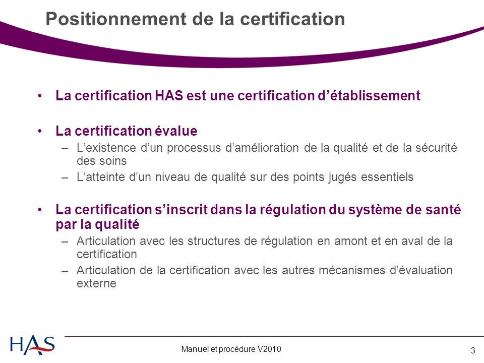 Manuel et procédure V2010 3 Positionnement de la certification La certification HAS est une certification d'établissement La certification évalue –L'existence d'un processus d'amélioration de la qualité et de la sécurité des soins –L'atteinte d'un niveau de qualité sur des points jugés essentiels La certification s'inscrit dans la régulation du système de santé par la qualité –Articulation avec les structures de régulation en amont et en aval de la certification –Articulation de la certification avec les autres mécanismes d'évaluation externe