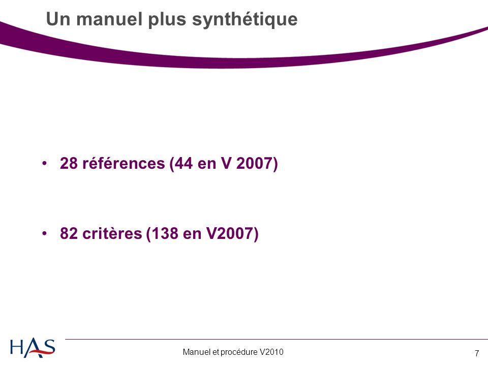 Manuel et procédure V2010 7 Un manuel plus synthétique 28 références (44 en V 2007) 82 critères (138 en V2007)