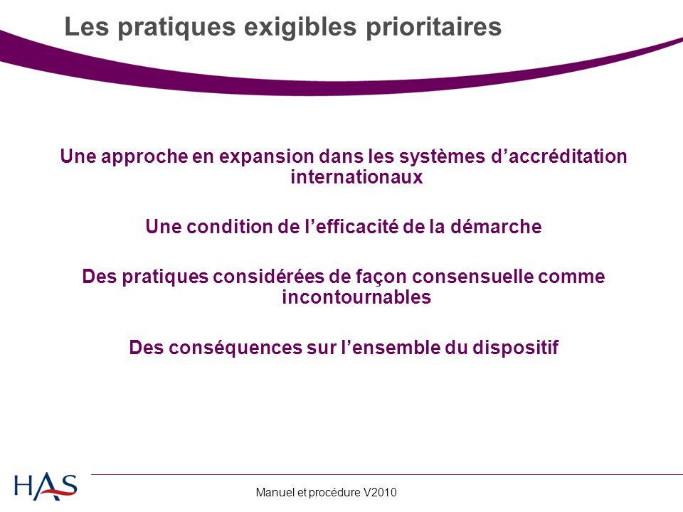 Manuel et procédure V2010 Une approche en expansion dans les systèmes d'accréditation internationaux Une condition de l'efficacité de la démarche Des pratiques considérées de façon consensuelle comme incontournables Des conséquences sur l'ensemble du dispositif Les pratiques exigibles prioritaires
