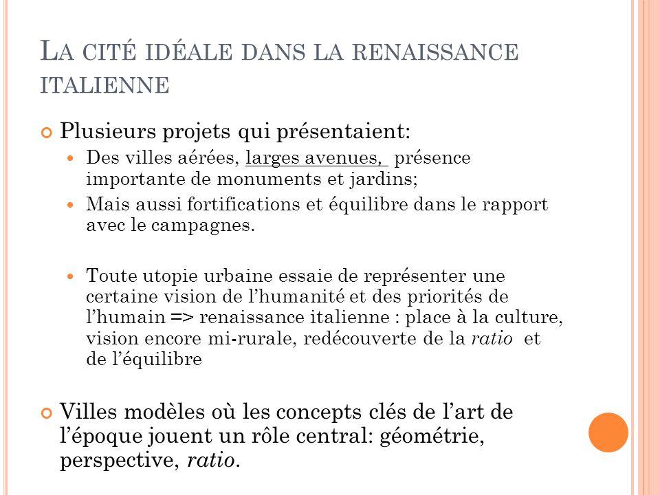 L A CITÉ IDÉALE DANS LA RENAISSANCE ITALIENNE Plusieurs projets qui présentaient: Des villes aérées, larges avenues, présence importante de monuments