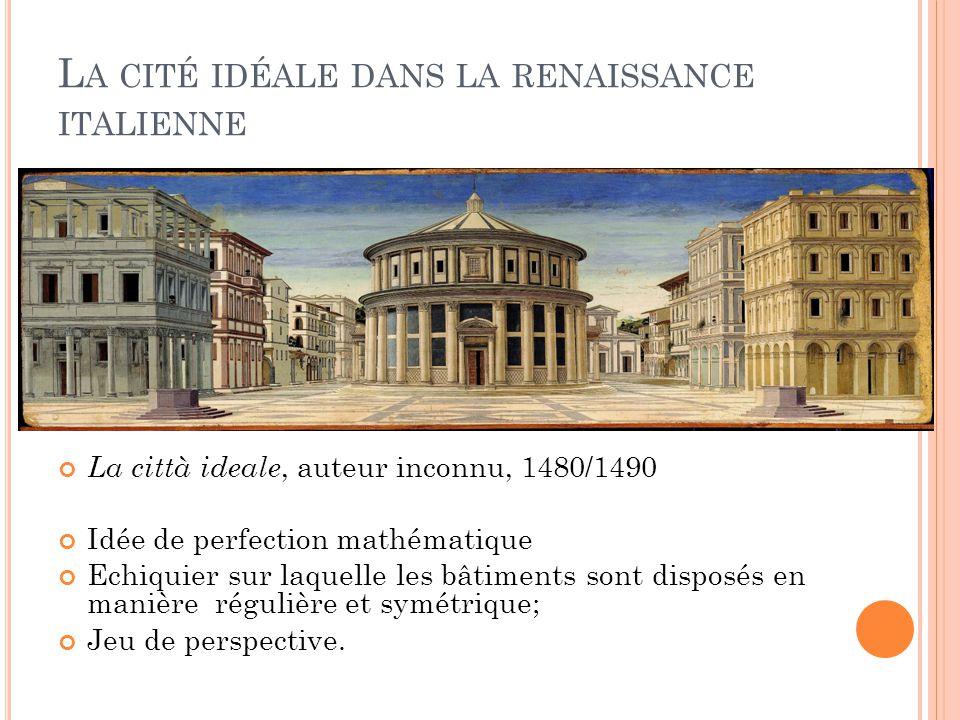 La città ideale, auteur inconnu, 1480/1490 Idée de perfection mathématique Echiquier sur laquelle les bâtiments sont disposés en manière régulière et