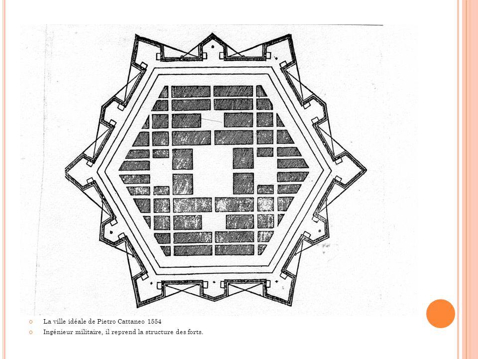La ville idéale de Pietro Cattaneo 1554 Ingénieur militaire, il reprend la structure des forts.