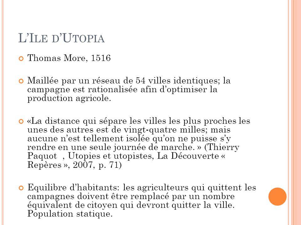 L'I LE D 'U TOPIA Thomas More, 1516 Maillée par un réseau de 54 villes identiques; la campagne est rationalisée afin d'optimiser la production agricol