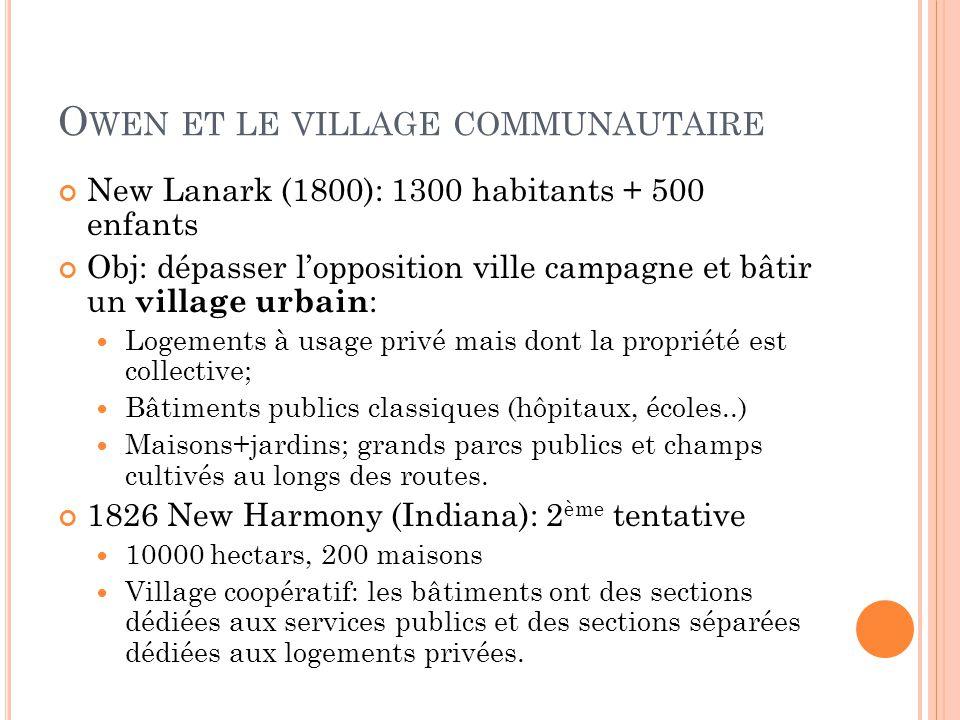 O WEN ET LE VILLAGE COMMUNAUTAIRE New Lanark (1800): 1300 habitants + 500 enfants Obj: dépasser l'opposition ville campagne et bâtir un village urbain