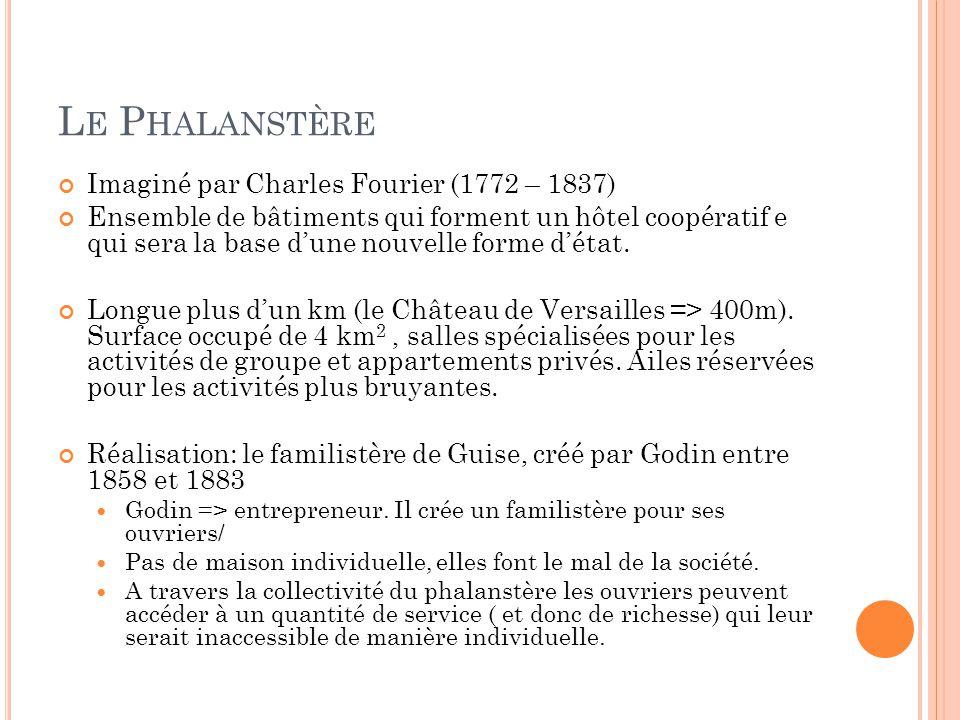 L E P HALANSTÈRE Imaginé par Charles Fourier (1772 – 1837) Ensemble de bâtiments qui forment un hôtel coopératif e qui sera la base d'une nouvelle for