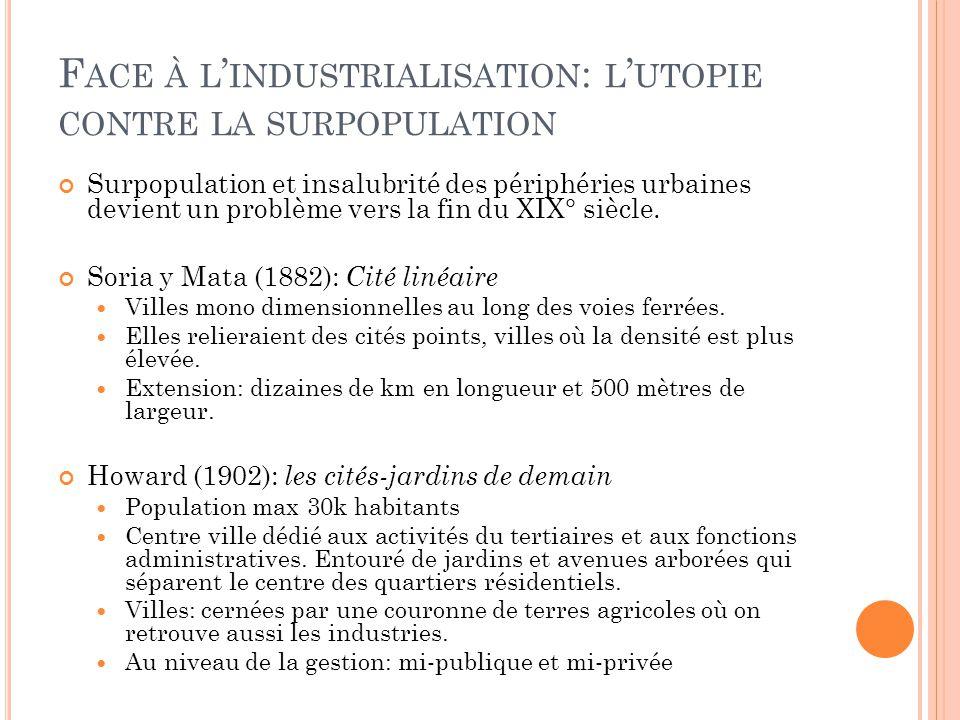 F ACE À L ' INDUSTRIALISATION : L ' UTOPIE CONTRE LA SURPOPULATION Surpopulation et insalubrité des périphéries urbaines devient un problème vers la f
