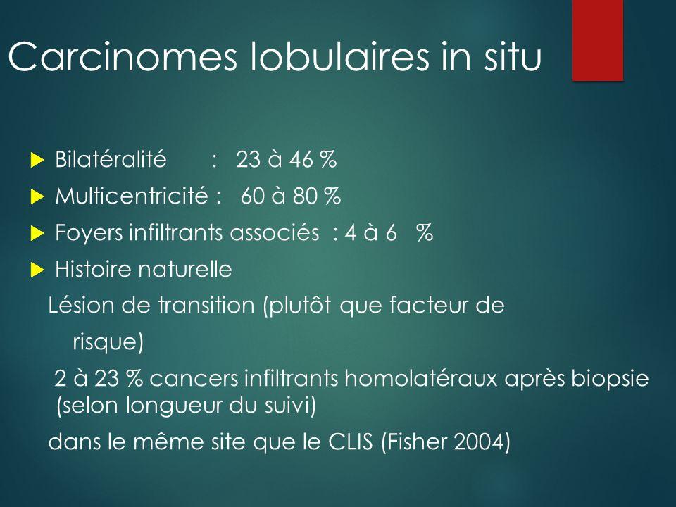 Classification OMS 2012  Abandon de la classification OMS 2003 en LIN1, LIN2 et LIN3 (Lobular Intraepithelial Neoplasia)  Retour aux termes  hyperplasie lobulaire atypique (HLA) (ex LIN1)  carcinome lobulaire in situ (CLIS) classique (ex LIN2 et LIN3 classique)  CLIS pléiomorphe (LIN 3 bague à chaton ou nécrose).