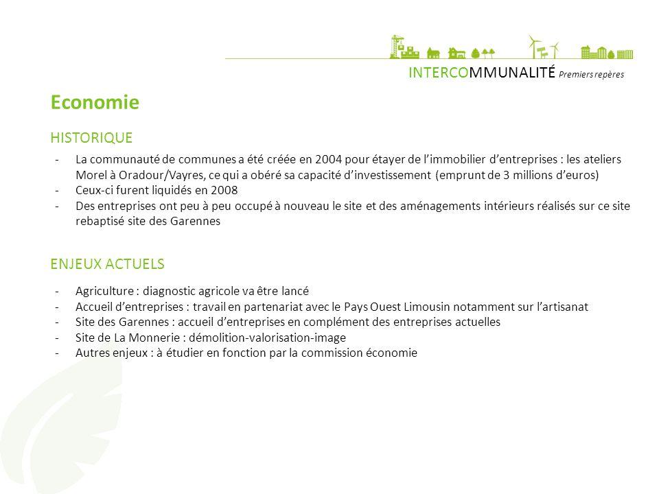 INTERCOMMUNALITÉ Premiers repères Economie -La communauté de communes a été créée en 2004 pour étayer de l'immobilier d'entreprises : les ateliers Morel à Oradour/Vayres, ce qui a obéré sa capacité d'investissement (emprunt de 3 millions d'euros) -Ceux-ci furent liquidés en 2008 -Des entreprises ont peu à peu occupé à nouveau le site et des aménagements intérieurs réalisés sur ce site rebaptisé site des Garennes HISTORIQUE ENJEUX ACTUELS -Agriculture : diagnostic agricole va être lancé -Accueil d'entreprises : travail en partenariat avec le Pays Ouest Limousin notamment sur l'artisanat -Site des Garennes : accueil d'entreprises en complément des entreprises actuelles -Site de La Monnerie : démolition-valorisation-image -Autres enjeux : à étudier en fonction par la commission économie